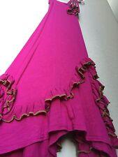 ReduceD Pixie Girl Long Dress 6x Hot Pink Green Trim Fuchsia Ruffles