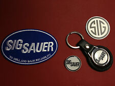 SIG SAUER, LEATHER KEY RING,  BADGE & PATCH SET  & FREE SIG  PHONE STICKER