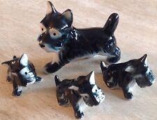 Vintage Ceramic/Porcelain Scottish Terrier Figurines Set of 4 Unmarked 1940-50's