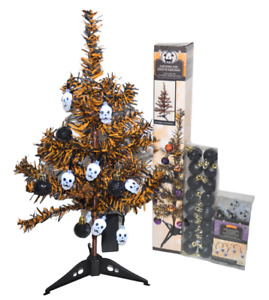 Halloween Tree Black Orange 18 inches Tall Skull LED Lights Up Ornaments New
