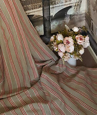 "Designer Natural Red Ticking Stripe100%Heavy Thick Linen60""Washed Curtain Fabric"