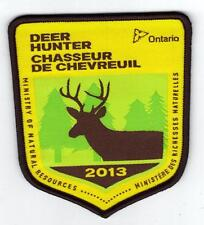 2013 ONTARIO MNR DEER HUNTER PATCH-MICHIGAN DNR DEER-BEAR-MOOSE-ELK-CREST-BADGE