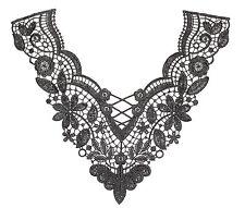 Venise Embroidered Lace Yoke Applique Motif dress dance costume Colour: Black #7