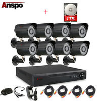 Anspo CCTV Security Camera System 4/8CH AHD 1080N DVR Home Surveillance 1TB HDD