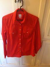 Gap women's orange long sleeve button front shirt size M