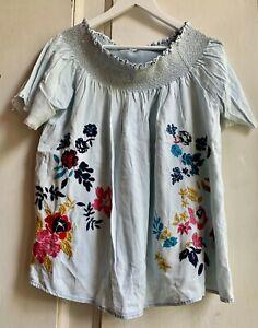 Fab Vintage Embroidered Gypsy Boho Tunic Kaftan Top Blouse 16