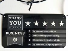 Uber Lyft generic headrest hanging display sign to maximize tips and ratings.PBW