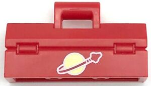 Lego New Red Minifigure Utensil Toolbox with White Classic Space Logo Pattern