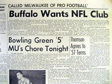 1957 newspaper BUFFALO NY begins campaign to get an NFL FOOTBALL TEAM Buff Bills
