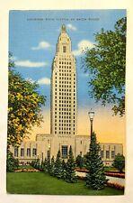 """BATON ROUGE, LA, """"Louisiana State Capitol"""", Vintage 1930-45 Linen PC 322"""