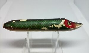 """VINTAGE Heddon Vamp Green Scale 4 3/8"""" Wood Glass Topwater/Surface fishing Lure"""