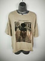 NEW WOMENS RED HERRING DEBENHAMS BEIGE NEW YORK CITY TSHIRT TOP SIZE UK 12