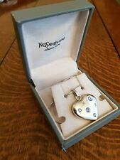 Yves Saint Laurent YSL Heart Pendant Necklace Solid Silver blue stones Boxed