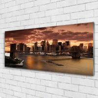 Print on Glass Wall art 125x50 Picture Image Bridge City Houses
