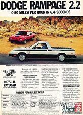 1983 Dodge Rampage Pickup 6.4 Sec Original Advertisement Print Art Car Ad J708
