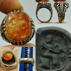 Lovely Silver  Ring Roman agate intaglio stone rare Ring   1