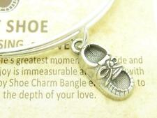 Wind and Fire Baby Shoe 3D Charm Silver Wire Bangle Stackable Bracelet Gift