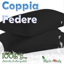 COPPIA FEDERE 52X82 100% COTONE NERO NERE FEDERA GUANCIALE CPFDNER