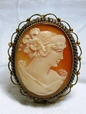 Gorgeous Fine Sterling Silver Carved Shell CAMEO Profile Pin BROOCH / PENDANT