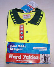 Hard Yakka Mens Koolgear 11857 Yellow Hi Vis Short Sleeve Polo Size 4XL New