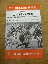 16/12/1973 Rugby League Programme: St Helens v Whitehaven [Players Trophy] (slig