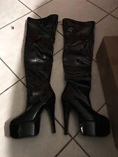 sexy BLACK jante thigh high boots womens size 5 stripper dancer