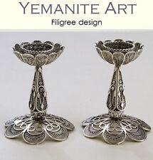 925 Handmade Sterling Silver Shabbat Candlestick Filigree Artisan, Yemenite Art
