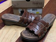 BORN LOLO BROWN RUST WHISKEY LEATHER STRAPPY SANDALS WEDGE HEELS 7 M 38 NEW BOX