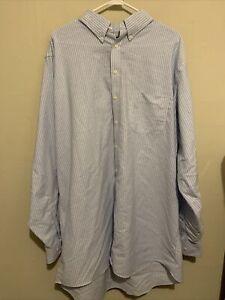 Stafford Men's Travel Oxford Non-Iron Blue White Striped Extra Tall 18.5 38 39