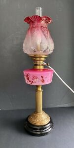 VICTORIAN OIL LAMP CONVERTED TO ELECTRIC