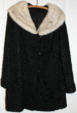 Vtg 1950s Womens Curly Persian Lamb Wool Black Coat Jacket w Fur Trim Collar