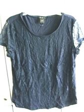 Ann Taylor Ladies Navy Blue Blouse T-Shirt Lace Overlay Shell Front Size Large !