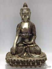 12'' bronze copper silver-plated carved dragon phoenix design Sakyamuni buddha