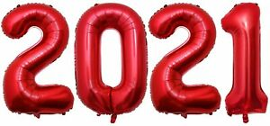 """16"""" 40"""" Number Balloon 2021 2022 Prom Foil Balloons New Year Grad Float Helium"""
