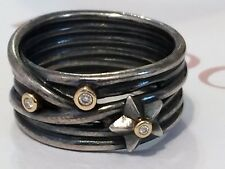 Authentic Pandora Stella Star Oxidized Silver Gold Ring Diamonds 190846 Retired