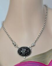 Konstantino $890 Black Spinel Large Pendant Necklace Sterling Silver New SALE