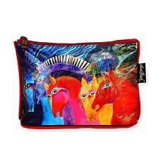 LAUREL BURCH-FOILED ZIPPERED COSMETIC BAG-WILD HORSES OF FIRE- GLOSSY REDS NWT!