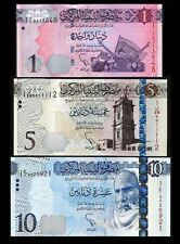 LIBYA 3 PCS UNCIRCULATED SET 1 5 10 DINAR 2013 2015
