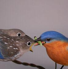 Eastern Bluebird & Babies Bird Carving Wood/Birdhug