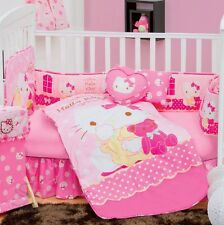 New Baby Girl SANRIO HELLO KITTY CARAMEL Pink Nursery Crib Bedding Set 5 Pieces