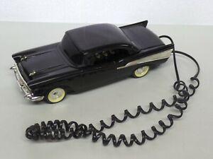 Vintage TeleMania '57 Chevy Push Button Desk Phone Black Chrome Missing Bumper