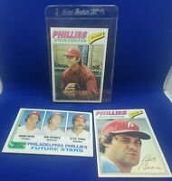 Lot of 3 Phillies Vintage Topps 1977 Boone Carlton and a 1982 Future Stars NM