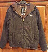 BILLABONG Coat Fleece Lined Insulated Black Zip Hood Tattoo Design Small EUC