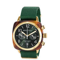 Briston Clubmaster Classic Acetate Tortoise Shell Rose Gold Green Nylon Watch