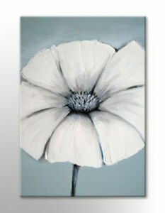 LARGE CANVAS ART DUCK EGG BLUE GREY WHITE FLOWERS PICTURE NEW ZEN PRINT PICTURE