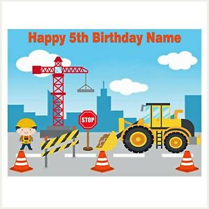 Construction Digger Crane Edible Image custom icing cake topper party decoration