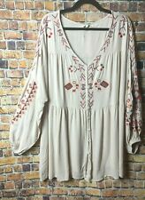 3X 3XL Plus Size Women Babydoll Boho Peasant Embroidered Beige Top Tunic Blouse