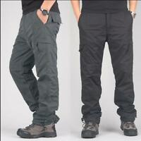 Mens Casual Cargo Pants Winter Fur Lined Thick Overalls Work Trousers 5XL Warm U