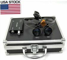 Us 35x Dental Binocular Loupes 3w Led Head Light With Filter Aluminum Box Black