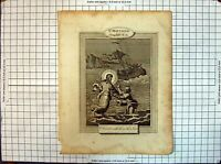 Original Old Antique Print St. Matthew Scene Jesus Christ Walking Sea Religion